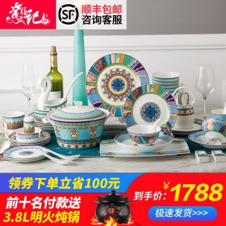 Dishes home four people jingdezhen ceramic tableware household gift set tableware suit Chinese dishes six combinations