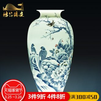 Jingdezhen ceramics vases, antique blue and white porcelain dragon bottle of new Chinese style household living room decoration