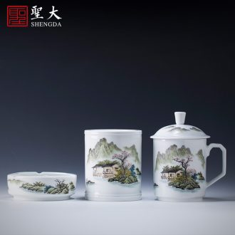 Holy big ceramic fair mug hand-painted new color landscape cool breeze flowing spring tea sea of jingdezhen tea service manual points