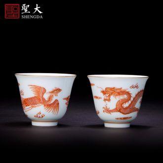 Holy big ceramic kung fu tea sample tea cup hand-painted porcelain moonlit both master cup of jingdezhen tea service single cup