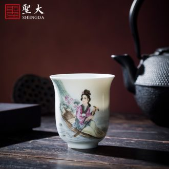The big cup sample tea cup hand-painted ceramic kung fu colored enamel disc abdominal jingdezhen blue and white landscape master cup of tea