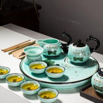 Jingdezhen ceramic tea set suits domestic high-grade circular teapot tea gift box kung fu tea tray of a complete set of cups