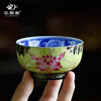 Three frequently pastel masters cup Jingdezhen tea hand-painted single cup melon butterfly tattoo small ceramic cups kung fu gifts