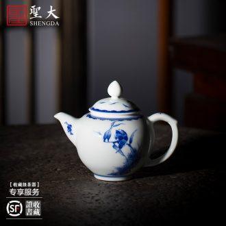 Holy big teapot hand-painted ceramic kung fu king of blue and white porcelain imitation step LuYan figure teapot full manual of jingdezhen tea service