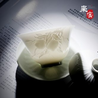 Jingdezhen ceramic masters cup sample tea cup hand-painted kung fu tea cup single cup large bowl lotus Buddha grain tea by hand