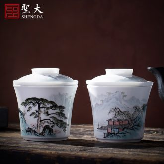 Holy big ceramic cover buy blue and white hoard of hand-painted landscape cover all hand jingdezhen kung fu tea accessories cover holder frame