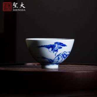 Holy big cup sample tea cup hand-painted ceramic kungfu antique blue-and-white abital master cup of jingdezhen tea service single cup