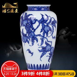 Jingdezhen blue and white jubilee ShouFuLu vase household ceramics furnishing articles imitation qing yongzheng flower arrangement sitting room adornment