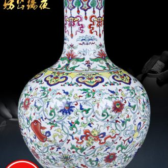 Jingdezhen ceramic vase furnishing articles large famous hand-painted ziyun fragrance new Chinese style home sitting room adornment