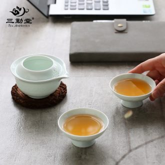 Three frequently shadow celadon tea set Household jingdezhen kung fu tea tureen noggin fair mug 6 pack