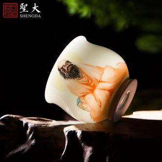 Jingdezhen ceramic products all hand pastel masters cup hand-painted figure kung fu tea cup to collect the ancient philosophers sample tea cup