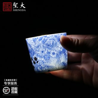 Holy big ceramic kung fu masters cup hand-painted porcelain cups branch lotus individual sample tea cup manual of jingdezhen tea service