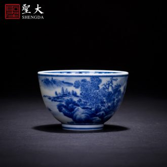 Holy big three to tureen teacups hand-painted ceramic antique blue-and-white the ancient philosophers figure make tea bowl full manual of jingdezhen tea service