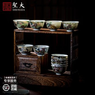 St the ceramic kung fu tea master cup hand-painted antique blue-and-white chrysanthemum lines cylinder cup all hand of jingdezhen tea service