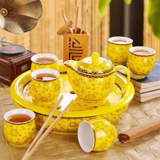 Tea tray tray circular contracted household jingdezhen ceramics kung fu tea water of blue and white porcelain tea sets tea saucer