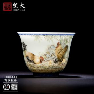 Kung fu master ceramic cups cups of tea at the end of the glaze colour wrapped branch ruyi bats grain sample tea cup of jingdezhen tea service