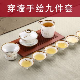 To travel tea set ceramic crack shots of coarse filtering ceramic teapot a pot of three cups of portable kung fu tea package