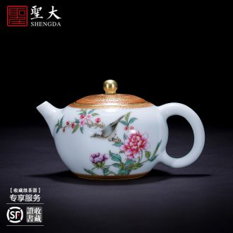 Holy big teapot hand-painted ceramic kung fu cui edge with pastel CongJu teapot single pot of hand of jingdezhen tea service