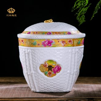 Ceramic barrel rice bucket storage bins insect-resistant moistureproof housewarming gift jingdezhen porcelain with cover flour barrels of marriage