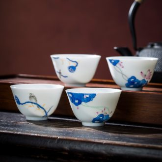 St the ceramic kung fu tea master cup hand-painted mantra poly incense sample tea cup jingdezhen blue and white paint great tea sets