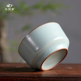Three frequently hall office ceramic cups large household with cover filter glass celadon personal single cup tea cup