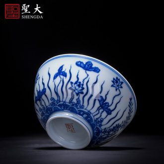 The big blue and white flowers and birds in spring makeup cup sample tea cup hand-painted ceramic kungfu single cup cup of jingdezhen tea service