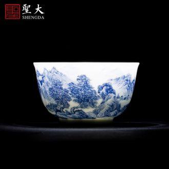 St big ceramic cover set hand-painted porcelain enamel CaiTuan landscapes pattern lid manually jingdezhen tea set with zero