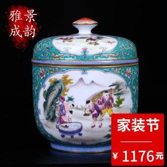 Jingdezhen ceramic household pu-erh tea seal save receives a large new Chinese porcelain decoration storage tank