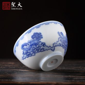 Santa teacups hand-painted ceramic kungfu jingdezhen blue and white goes well with the phoenix peony grains heart cup sample tea cup tea sets