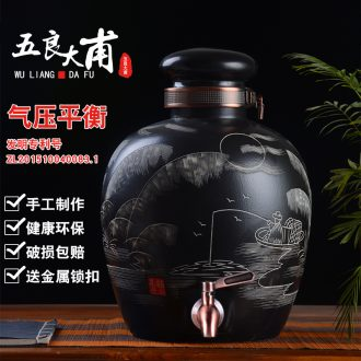 Jingdezhen ceramic foam glass jars with leading 20 jins 30 jins of 50 kg wine vintage wine jars with lock