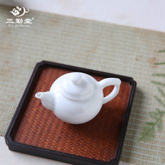 Three frequently kung fu tea set Jingdezhen ceramic fair hand grasp pot BeiYing carved green manual meander tang