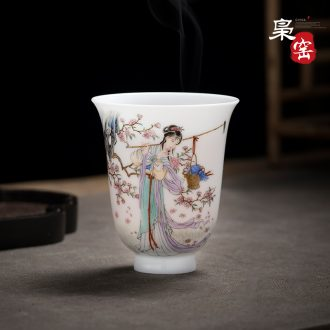 Jingdezhen ceramic wire inlay enamel colour master cup tea hand-painted gold paint individual cup single cup kung fu tea cups