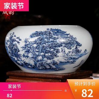 Jingdezhen ceramic seal caddy storage tank large household puer tea cake tin deposit receives storage place