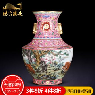 Archaize of jingdezhen ceramics powder enamel hand-painted five tiger general vase Chinese style living room TV cabinet decorative furnishing articles