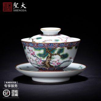 Santa teacups hand-painted ceramic kungfu heavy industry alum red paint grain, Kowloon cup tea cups of jingdezhen tea service master