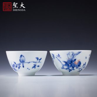 Holy big ceramic tureen hand-painted porcelain cups around branch group long-lived footed three tea bowl manual of jingdezhen tea service
