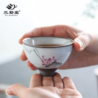 Three frequently hall tea cup sample tea cup jingdezhen ceramic celadon paint master kung fu tea cups