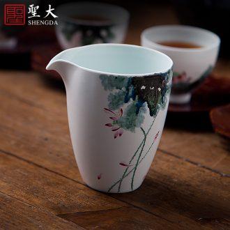 Tureen tea cup size of jingdezhen ceramic kung fu tea set hand-painted pastel lotus three fat white tea bowl to bowl