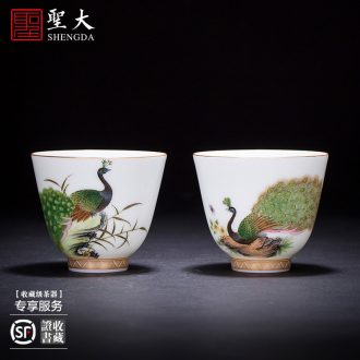 Holy big ceramic curios kung fu tea heavy hand-painted alum red paint wulong grain sample tea cup jingdezhen masters cup