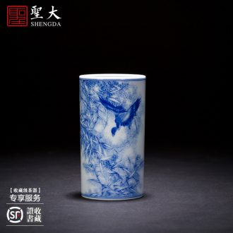 "The big ceramic curios Hand-painted heavy industry ""four hair brush pot furnishing articles all hand jingdezhen blue and white Monkey King"