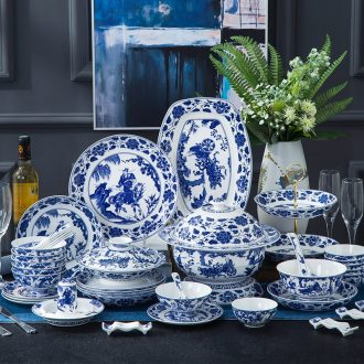 Jingdezhen bowls of bone plate suit household top-grade ceramic tableware 56 head gift set European dishes and contracted
