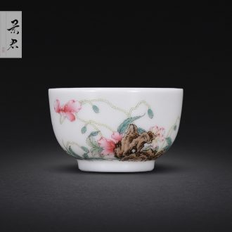 Jingdezhen porcelain enamel colour of flowers and birds all hand sample tea cup kung fu tea cup ceramic cup personal Lord