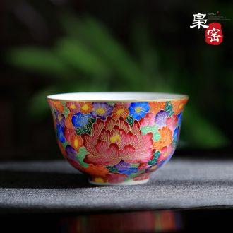 Jingdezhen master cup single cup ceramic cups tea tea set, hand-painted snow landscape manual jade porcelain sample tea cup