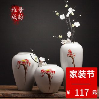 Jingdezhen ceramic home furnishing articles new Chinese style living room table vase flower arranging flowers, decorative arts and crafts porcelain