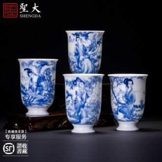 The big Hand painted blue and white chrysanthemum butterfly tattoo master cup of jingdezhen ceramic cup of pure manual kung fu tea sample tea cup