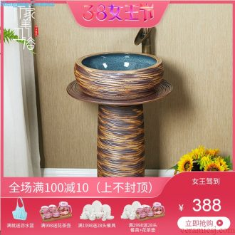 M beautiful ceramic pillar square small floor type lavatory basin one-piece lavabo vertical column basin of household