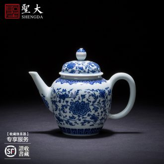 Santa teacups hand-painted ceramic kung fu emperor Huang Jiaqing brew cylinder head outline drive makes poetry cups of jingdezhen tea service