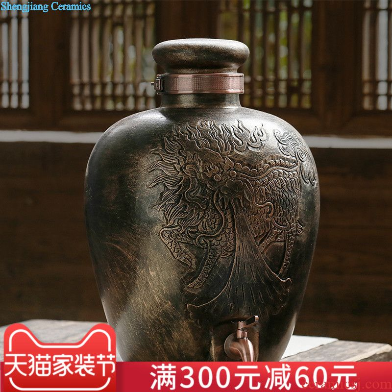 Jingdezhen ceramic jars 10 jins 20 jins 30 jins of bone China wine jar it seal pot with leading domestic