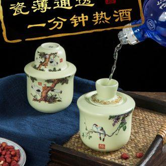 Kung fu tea set home office tea kettle celadon porcelain lotus jingdezhen hand-painted tea tea table