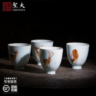 Holy big ceramic kung fu masters cup hand-painted porcelain cups treasure group long-lived sample tea cup all hand of jingdezhen tea service